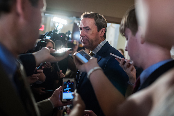 UNITED STATES - JUNE 26: Rep. Mark Walker, R-N.C., talks with reporters after a meeting of the House Republican Conference in the Capitol on June 26, 2018. (Photo By Tom Williams/CQ Roll Call)
