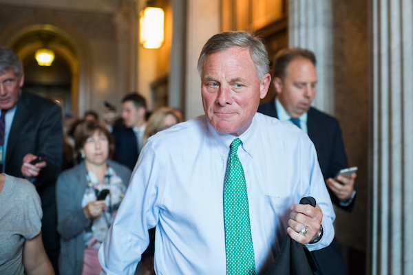 UNITED STATES - JULY 17: Sen. Richard Burr, R-N.C., is seen after the Senate Policy luncheons in the Capitol on July 17, 2018. (Photo By Tom Williams/CQ Roll Call)