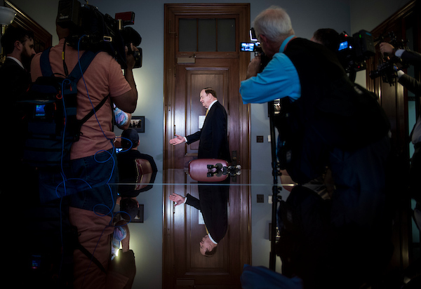 UNITED STATES – JULY 30: Richard Shelby, R-Ala. extends his hand to Supreme Court nominee Brett Kavanaugh in his office in the Russell Office Building Monday July 30, 2018. (Photo By Sarah Silbiger/CQ Roll Call)