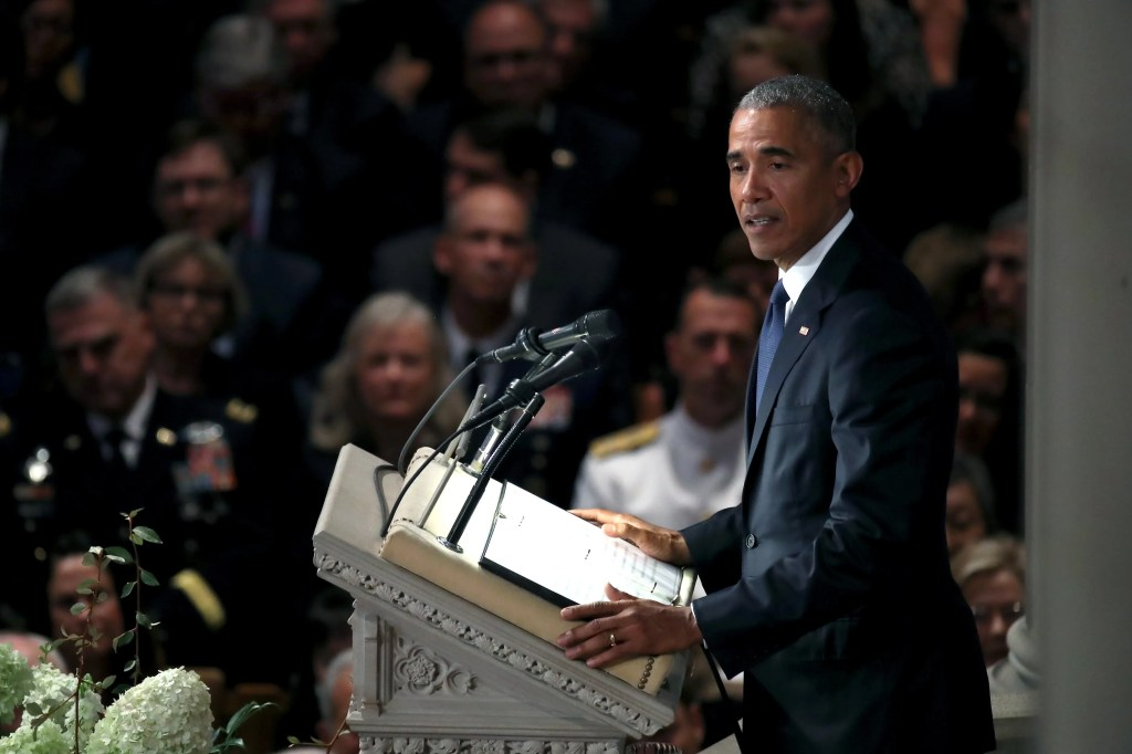 WASHINGTON, DC - SEPTEMBER 1: Former U.S. President Barack Obama speaks at the funeral service for U.S. Sen. John McCain at the National Cathedral on September 1, 2018 in Washington, DC. The late senator died August 25 at the age of 81 after a long battle with brain cancer. McCain will be buried at his final resting place at the U.S. Naval Academy. (Photo by Mark Wilson/Getty Images)