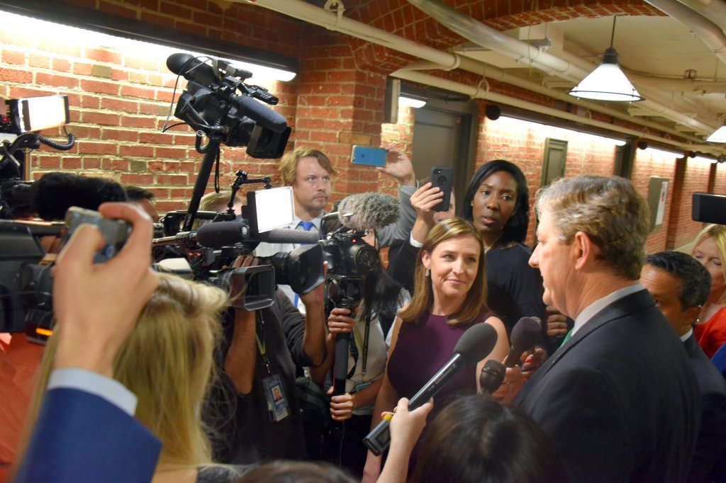 Sen. John Kennedy, R-La., talked to a scrum in the Russell Senate Office Building. (Courtesy Leahy)