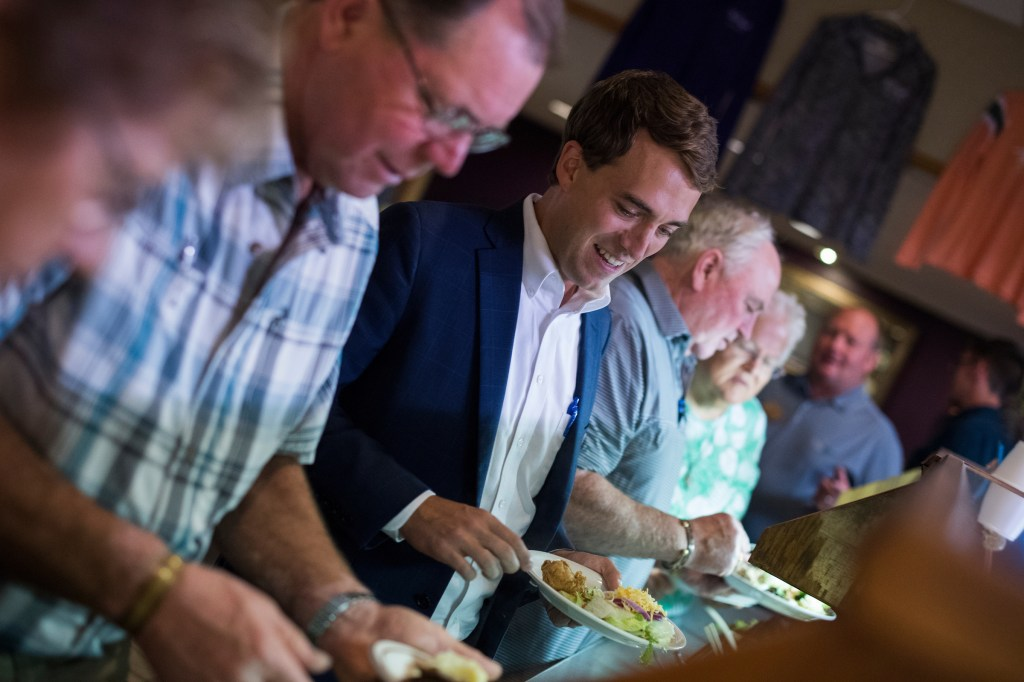 UNITED STATES - SEPTEMBER 17: Joe Radinovich, Democratic candidate for Minnesota's 8th Congressional District, attends the Morrison County Convention of the Minnesota Farmers Union at the Royal Cafe in Little Falls, Minn., on September 17, 2018. (Photo By Tom Williams/CQ Roll Call)