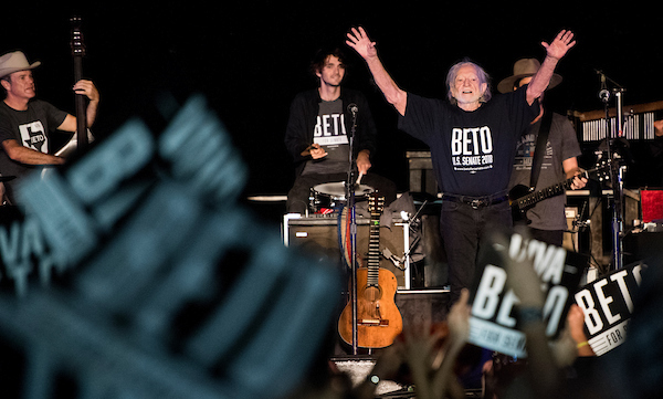 UNITED STATES - SEPTEMBER 29: Wille Nelson waves to the crowd aftwer his final song during Beto O'Rourke's Turn out For Texas Rally, featuring a concert by Wille Nelson, in Austin, Texas on Saturday, Sept. 29, 2018. (Photo By Bill Clark/CQ Roll Call)
