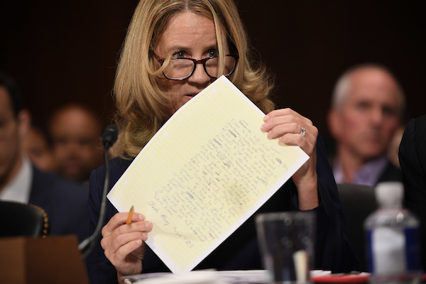 Christine Blasey Ford, the woman accusing Supreme Court nominee Brett Kavanaugh of sexually assaulting her at a party 36 years ago, testifies before the US Senate Judiciary Committee on Capitol Hill in Washington, DC, September 27, 2018. (POOL PHOTO / SAUL LOEB / AFP)