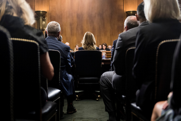 Dr. Christine Blasey Ford prepares to testify on Thursday during the Senate Judiciary Committee hearing on the nomination of Brett M. Kavanaugh to be an associate justice of the Supreme Court of the United States, focusing on allegations of sexual assault by Kavanaugh against Blasey Ford in the early 1980s. (Tom Williams/CQ Roll Call/POOL)