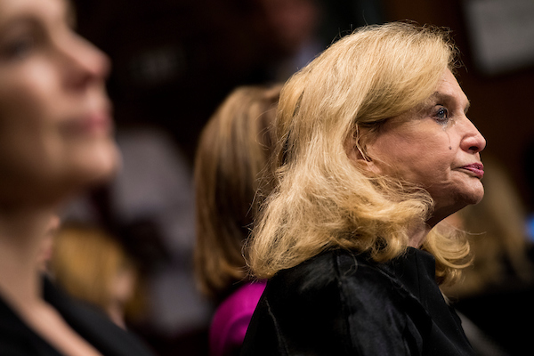 UNITED STATES - SEPTEMBER 27: A tears runs down the cheek of Rep. Carolyn Maloney, D-N.Y., as Dr. Christine Blasey Ford testifies during the Senate Judiciary Committee hearing on the nomination of Brett M. Kavanaugh to be an associate justice of the Supreme Court of the United States, focusing on allegations of sexual assault by Kavanaugh against Christine Blasey Ford in the early 1980s. (Photo By Tom Williams/CQ Roll Call/POOL)