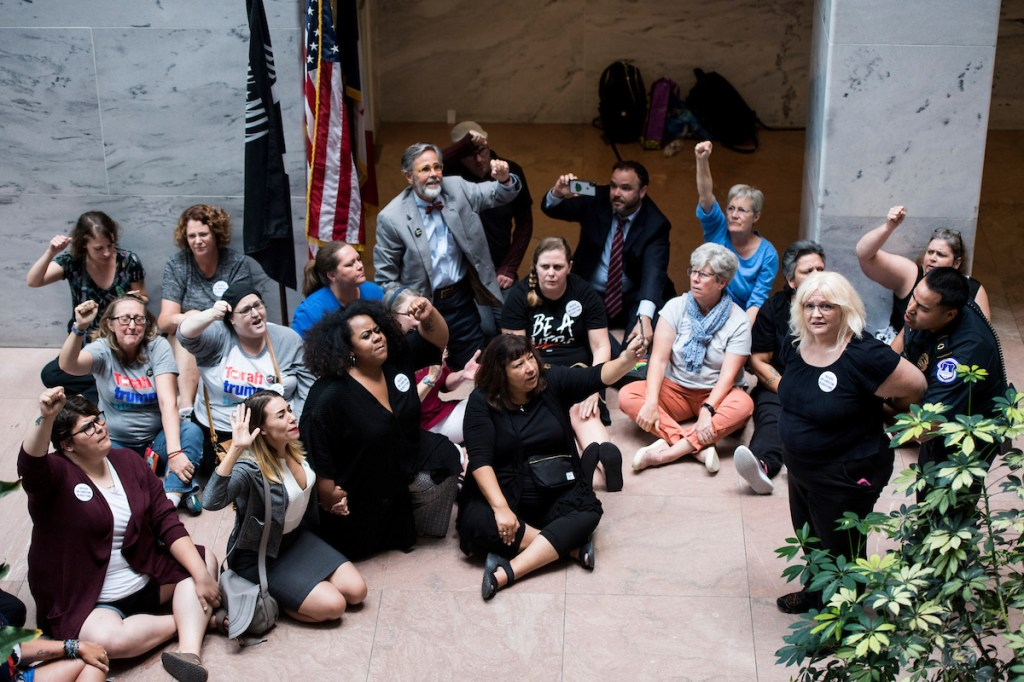 Demonstrators protested outside Senate Judiciary Chairman Charles E. Grassley's office in Hart. (Photo By Bill Clark/CQ Roll Call)