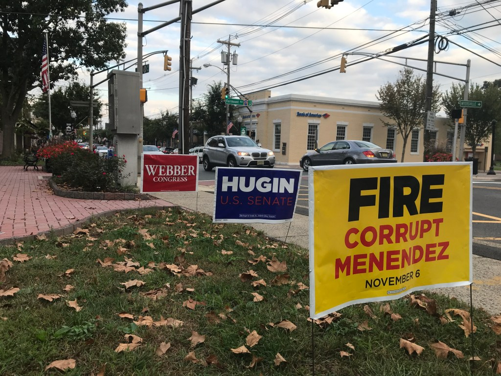 Campaign signs for the Senate and 11th District races on Main Street in Chatham, New Jersey. (Simone Pathe/CQ Roll Call)