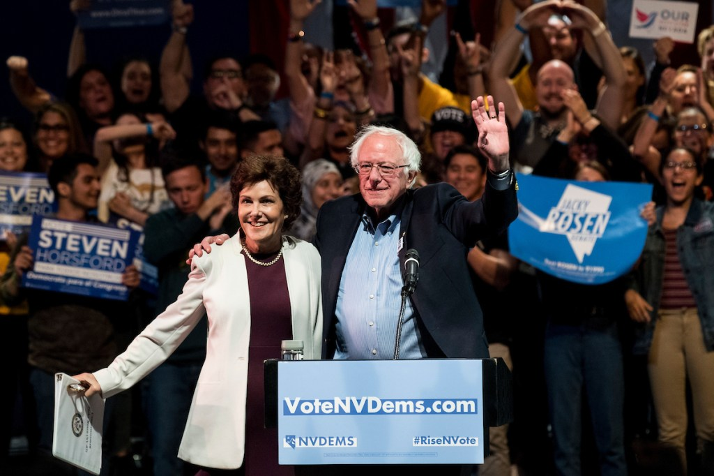 Rep. Jacky Rosen, the Democratic nominee for Senate in Nevada, appeared with Sen. Bernie Sanders on Thursday. (Bill Clark/CQ Roll Call)