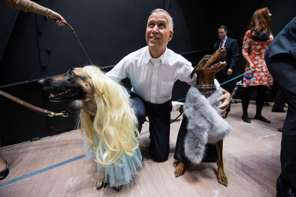 UNITED STATES - OCTOBER 31: Sen. Thom Tillis, R-N.C., poses with the Game of Thrones dogs during his Halloween dog parade on Tuesday, Oct. 31, 2017. (Photo By Bill Clark/CQ Roll Call)