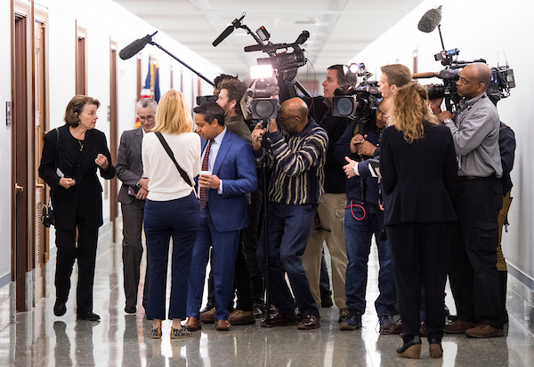 Sen. Dianne Feinstein, D-Calif., speaks to reporters as she arrives for the Senate Judiciary Committee markup hearing in the Dirksen Senate Office Building on Thursday, Nov. 15, 2018. (Photo By Bill Clark/CQ Roll Call)