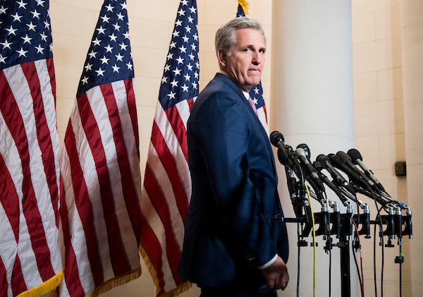 UNITED STATES - NOVEMBER 14: House Majority Leader Kevin McCarthy, R-Calif., newly elected as House Minority Leader for the upcoming Congress, arrives for the press conference following the House GOP leadership elections in the Longworth House Office Building on Wednesday, Nov. 14, 2018. (Photo By Bill Clark/CQ Roll Call)