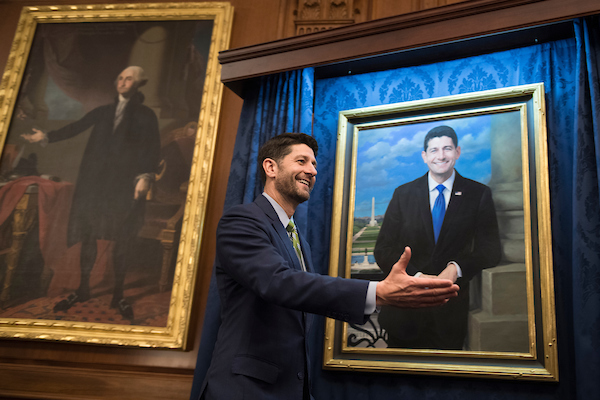 UNITED STATES - NOVEMBER 29: Speaker Paul Ryan, R-Wis., attends the unveiling of his House Budget Committee chairman portrait in the Capitol on November 29, 2018. The portrait was painted by Minnesota artist Leslie Bowman. (Photo By Tom Williams/CQ Roll Call)