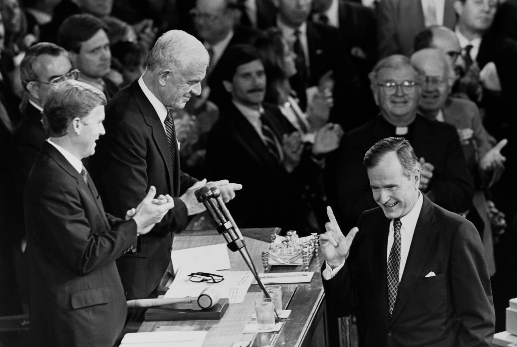 Just prior to addressing the joint session of Congress. President George Bush, Vice President Dan Quayle, Speaker Tom Foley. House Chaplain James behind Bush and Senate Chaplain Richard Halverson behind Quayle, Donald Anderson, House Clerk. September 10, 1990 (Photo by Maureen Keating/CQ Roll Call)