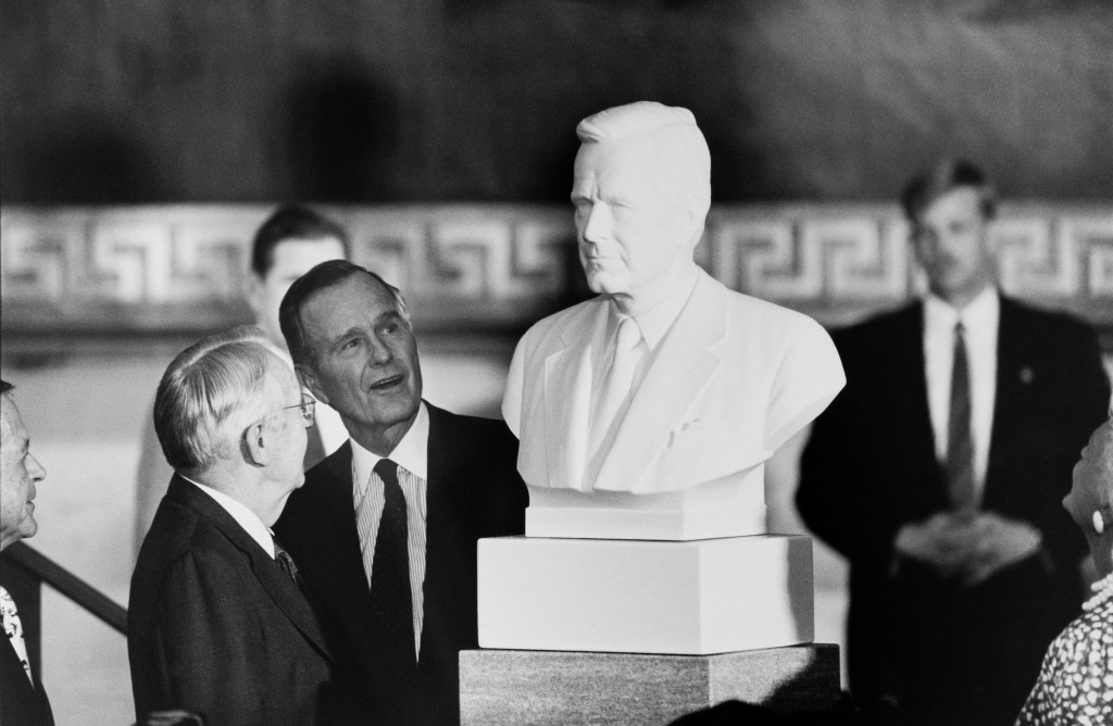 Senator Wendall Ford of Kentucky and President George Bush at Bush's vice presidential bust unveiling in the Capitol Rotonda. June 1991 (Photo by Laura Patterson/CQ Roll Call)