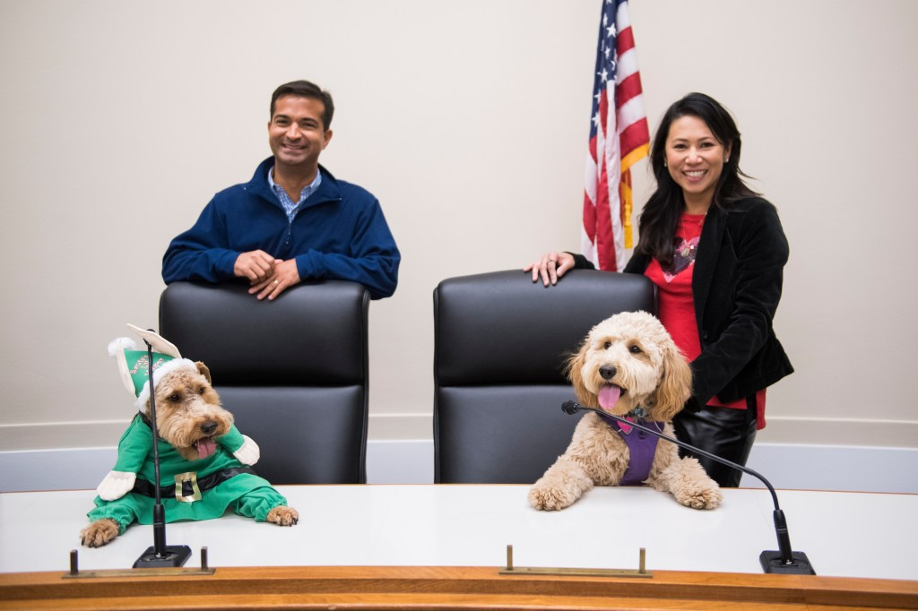 UNITED STATES - DECEMBER 10: Rep. Carlos Curbelo, R-Fla., Riggins, left, a Welsh Terrier, from his office, Rep. Stephanie Murphy, D-Fla., and her Mini Goldendoodle, Carmela, pose for a picture at the Bipawtisan Howliday in Rayburn Building on December 10, 2018. Riggins is owned by Curbelo's communications director Joanna Rodriguez. (Photo By Tom Williams/CQ Roll Call)