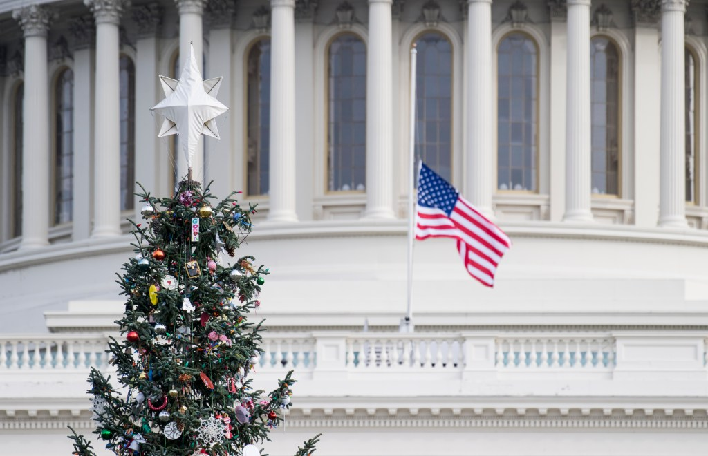 UNITED STATES - DECEMBER 5: The U.S. Capitol Christmas Tree stands in front of the Capitol on Wednesday, Dec. 5, 2018. The annual treelighting was postponed from Tuesday until tomorrow night due to the funeral of of President George H.W. Bush. (Photo By Bill Clark/CQ Roll Call)
