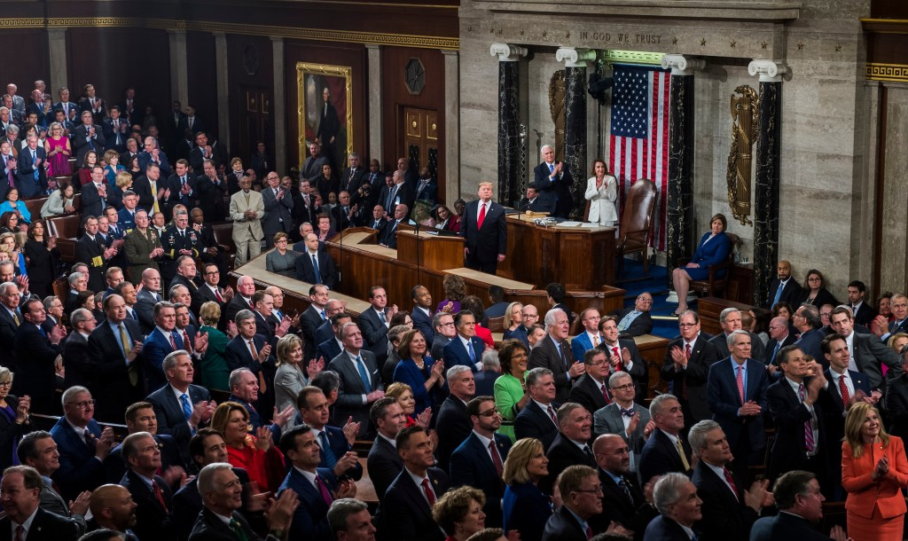 UNITED STATES - FEBRUARY 05: President Donald Trump is seen in the House Chamber during his State of the Union address along with Speaker Nancy Pelosi, D-Calif., and VP Mike Pence on Tuesday, February 5, 2019. (Photo By Tom Williams/CQ Roll Call)
