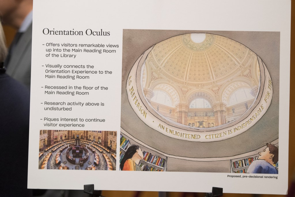 A rendering of the oculus proposed looking into the Library of Congress' main reading room. (Tom Williams / CQ Roll Call)