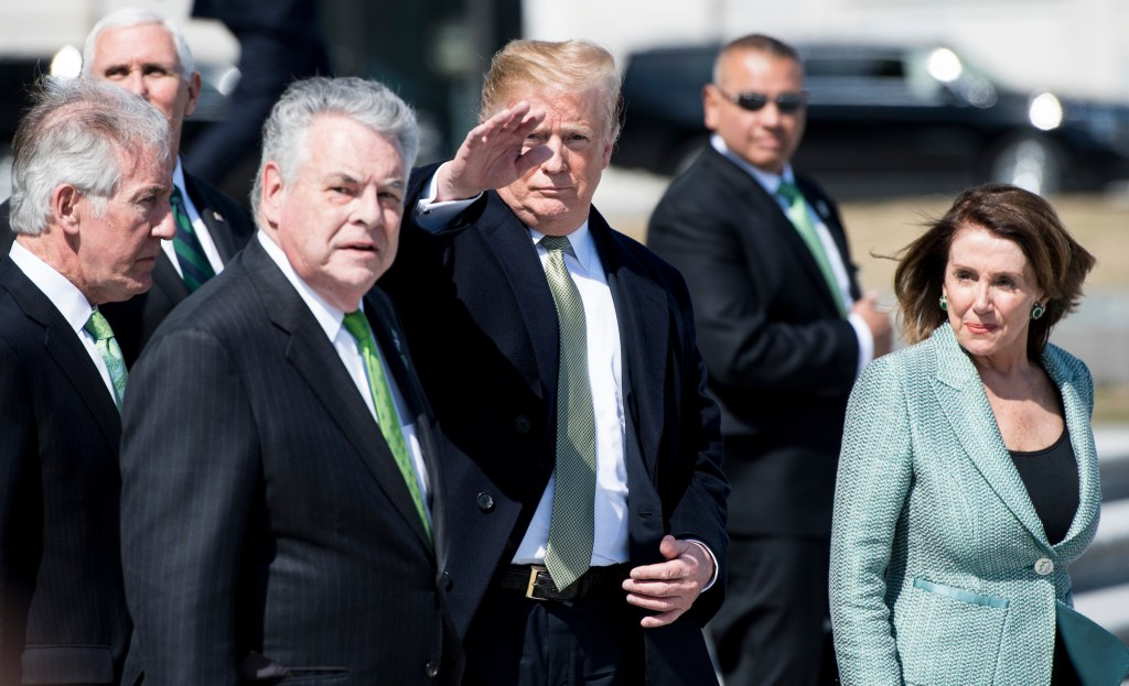UNITED STATES - MARCH 14: From left, Rep. Richard Neal, D-Mass., Vice President Mike Pence, Rep. Peter King, R-N.Y., President Donald Trump, and Speaker of the House Nancy Pelosi, D-Calif., exit the Capitol after the annual Friends of Ireland Luncheon on Thursday, March 14, 2019. (Photo By Bill Clark/CQ Roll Call)