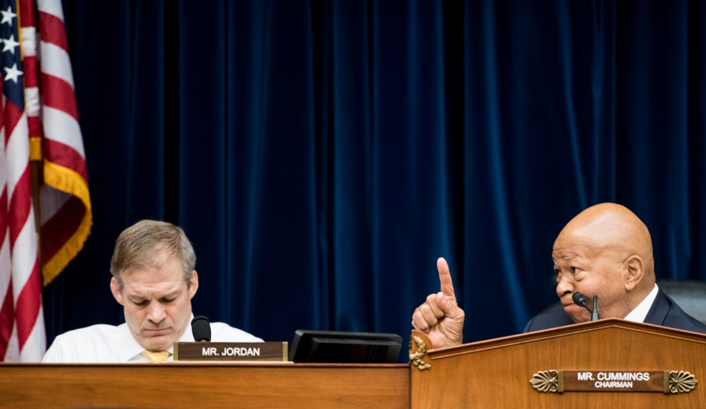 UNITED STATES - APRIL 2: Chairman Elijah Cummings, D-Md., right, speaks as ranking member Rep. Jim Jordan, R-Ohio, listens during the House Oversight and Reform Committee markup of a resolution authorizing issuance of subpoenas related to security clearances and the 2020 Census on Tuesday, April 2m 2019. (Photo By Bill Clark/CQ Roll Call)
