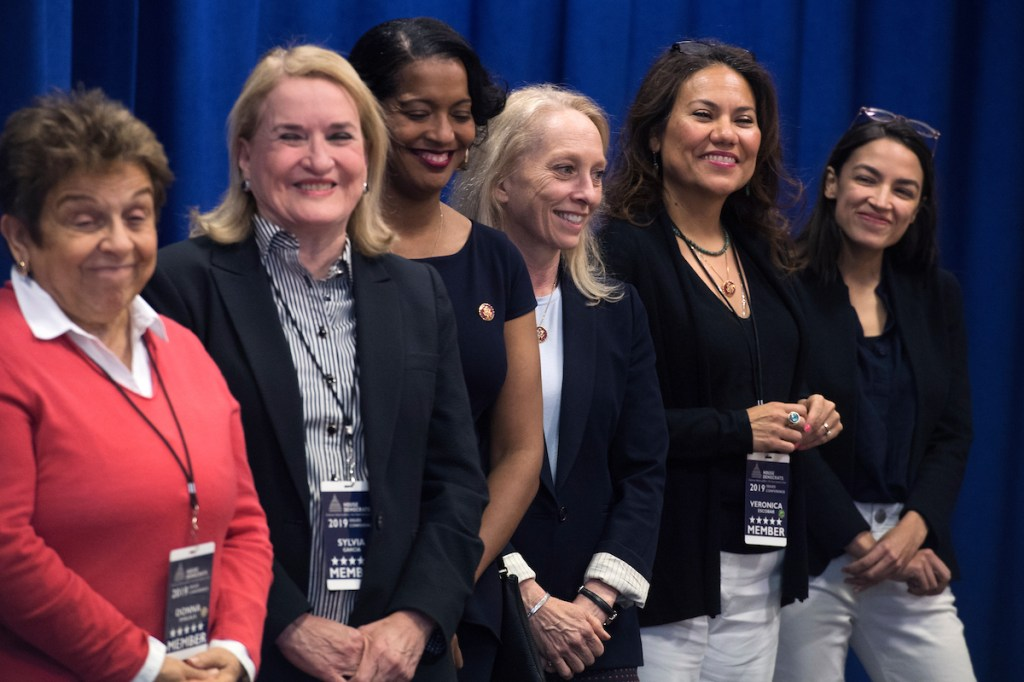 Members of the freshmen class address the press. From left, Reps. Donna Shalala, D-Fla., Sylvia Garcia, D-Texas, Jahana Hayes, D-Conn., Mary Gay Scanlon, D-Pa., Veronica Escobar, D-Texas, and Alexandria Ocasio-Cortez, D-N.Y.(Tom Williams/CQ Roll Call)