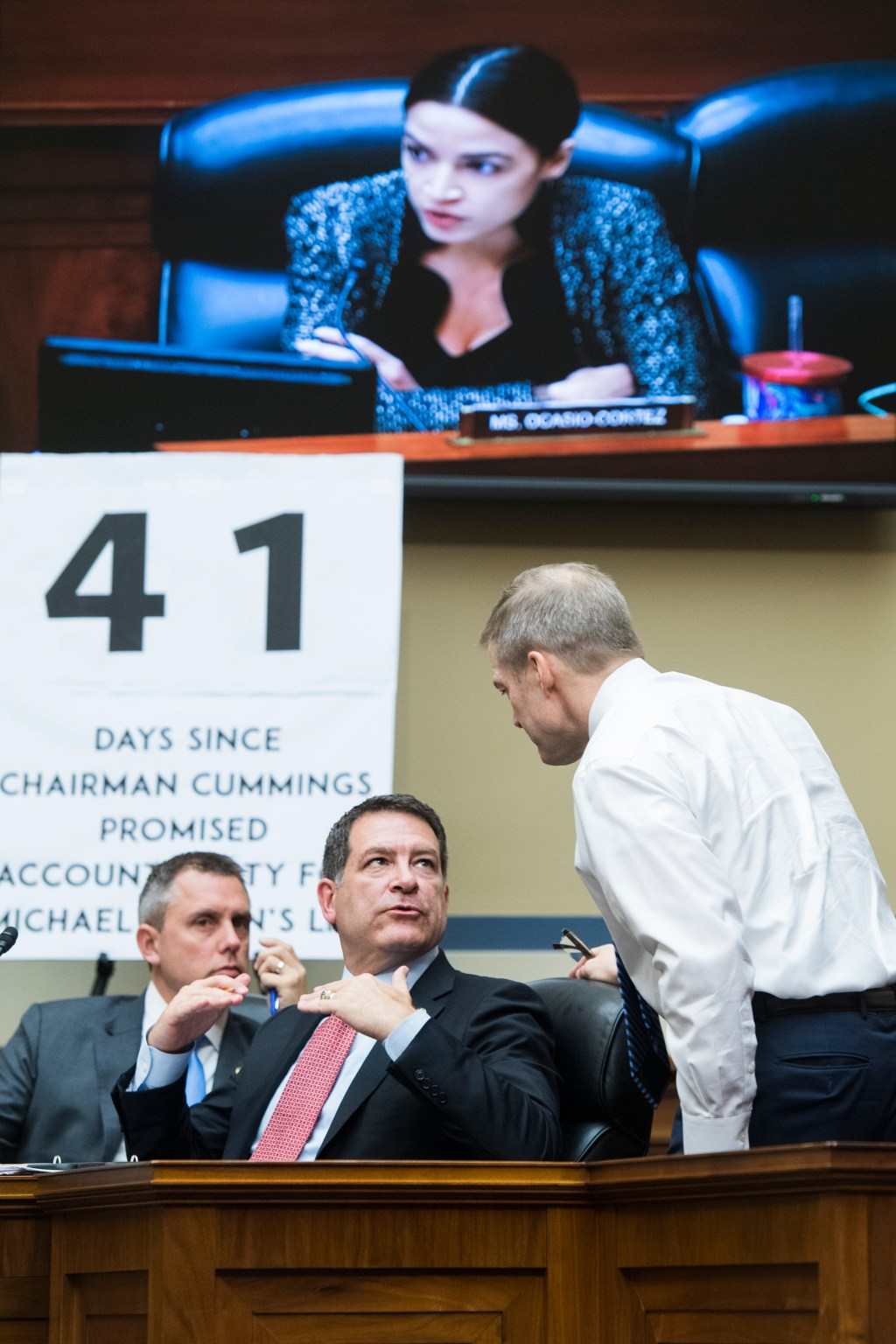 UNITED STATES - APRIL 9: From left, Reps. Kelly Armstrong, R-N.D., Mark Green, R-Tenn., and Jim Jordan, R-Ohio, are seen during a House Oversight and Reform Committee hearing in Rayburn Building titled