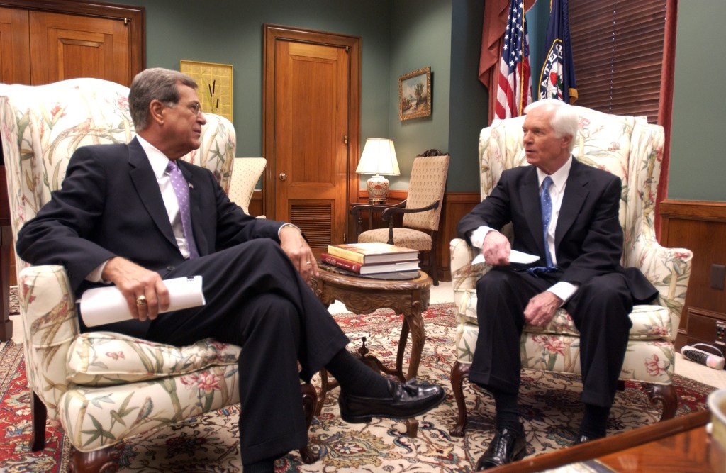 Trent Lott and Thad Cochran talk about storm damage in Mississippi as they wait for Curt Weldon. Weldon from Pennsylvania was presenting them with a check for $100,000 dollars from an animus donor from his state to help with storm damage in their state. Later in the day Weldon was going to present them with another check for 50,000 dollars. photo by Douglas Graham