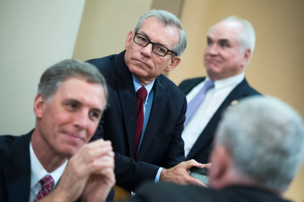 UNITED STATES - MAY 16: From left, Reps. Tom Rice, R-S.C., David Schweikert, R-Ariz., and Mike Kelly, R-Pa., are seen during a House Ways and Means Committee hearing in Longworth Building titled