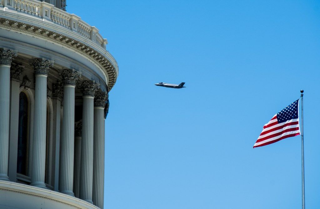 UNITED STATES - JUNE 12: An F-35 flies past the U.S. Capitol dome during a flyover in Washington on Wednesday, June 12, 2019. (Photo By Bill Clark/CQ Roll Call)