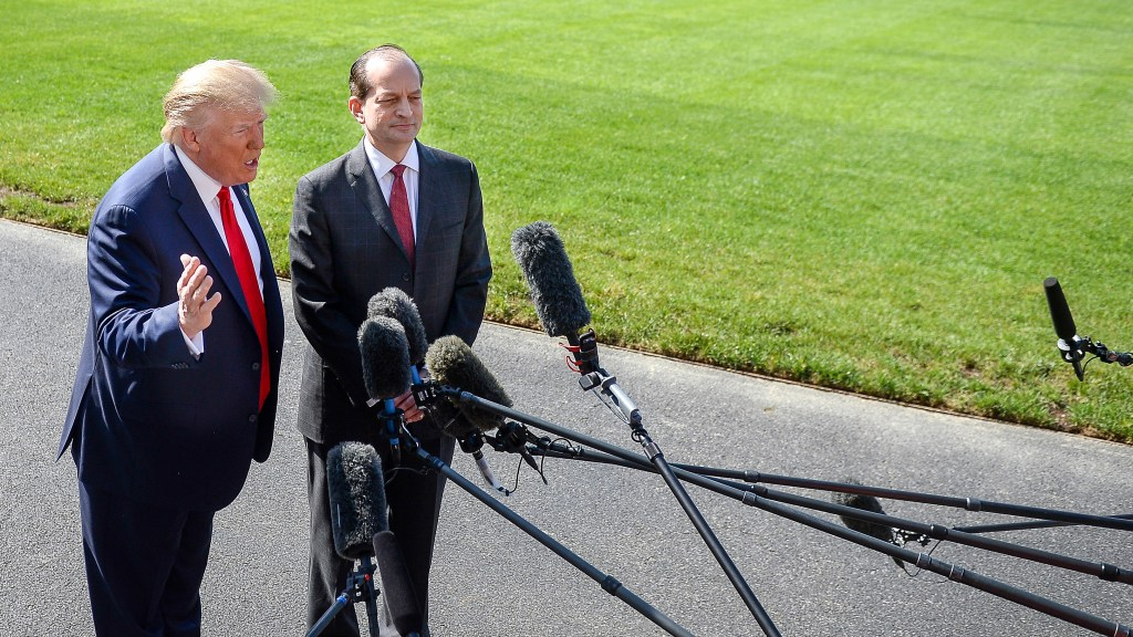 UNITED STATES - JULY 12: President Donald Trump, accompanied by Labor Secretary Alex Acosta, right, speaks to members of the media on the South Lawn of the White House on Friday July 12, 2019. (Photo by Caroline Brehman/CQ Roll Call)