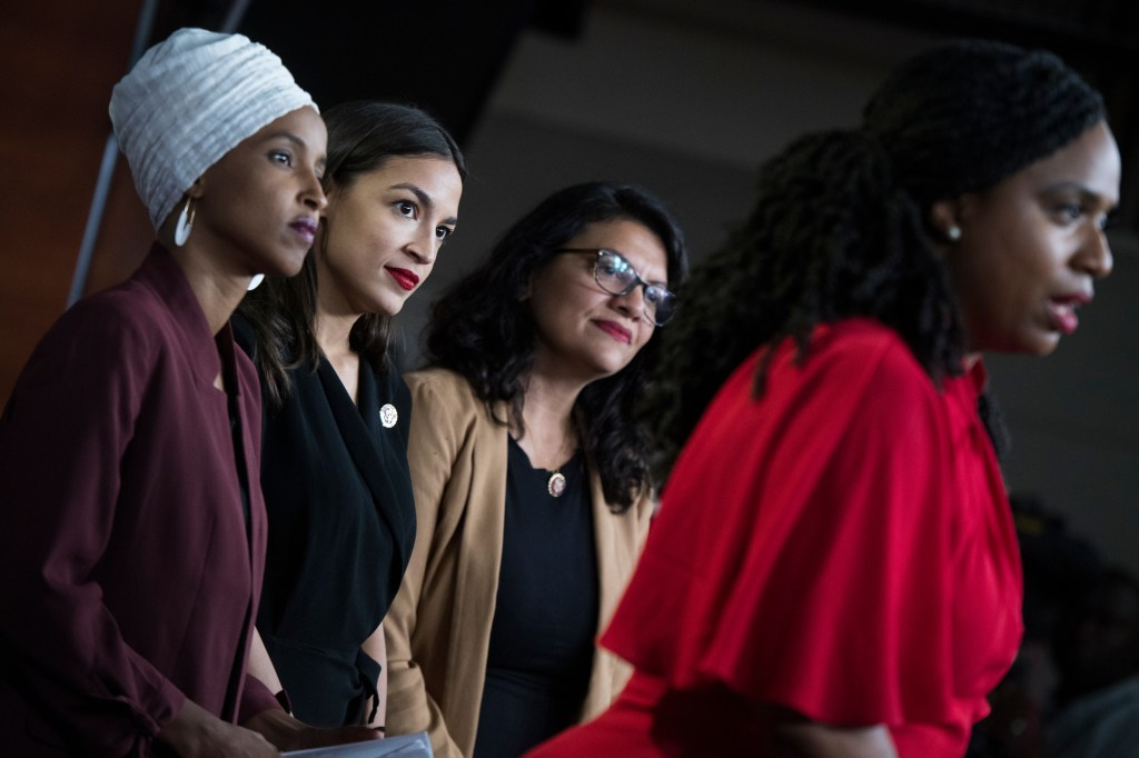 UNITED STATES - JULY 15: From left, Reps. Ilhan Omar, D-Minn., Alexandria Ocasio-Cortez, D-N.Y., Rashida Tlaib, D-Mich., and Ayanna Pressley, D-Mass., conduct a news conference in the Capitol Visitor Center responding to negative comments by President Trump that were directed at the freshmen House Democrats on Monday, July 15, 2019. (Photo By Tom Williams/CQ Roll Call)