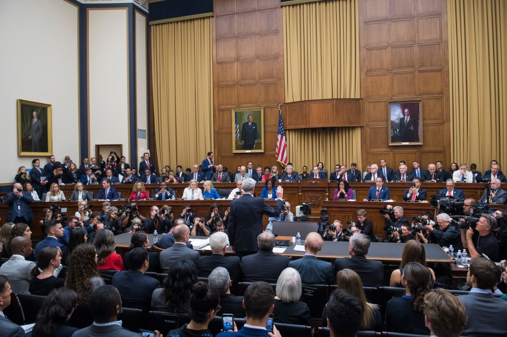 Former special counsel Robert Mueller is sworn in to the House Judiciary Committee hearing on his investigation into Russian interference in the 2016 election on Wednesday, July 24, 2019. He will testify before the House Intelligence Committee later in the day. (Photo By Tom Williams/CQ Roll Call)