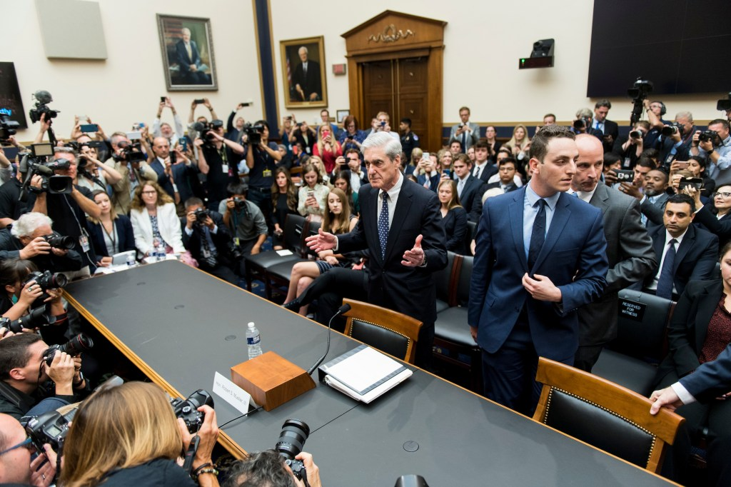 Former Special Counsel Robert Mueller arrives to testify during the House Judiciary Committee hearing on