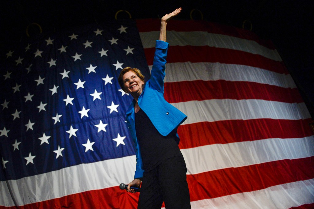 UNITED STATES - AUGUST 9: Democratic presidential candidate Sen. Elizabeth Warren, D-Mass., speaks at the Iowa Democratic Wing Ding at the Surf Ballroom in Clear Lake on Friday August 9, 2019. (Photo by Caroline Brehman/CQ Roll Call)