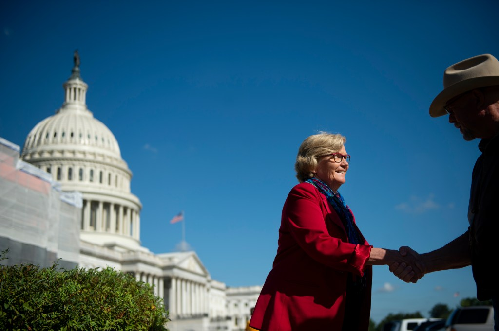 UNITED STATES - SEPTEMBER 18: Rep. Chellie Pingree, D-Maine, shakes hands with a rancher attending a news conference supporting the Green New Deal and farm policy reform in Washington on Wednesday September 18, 2019. (Photo by Caroline Brehman/CQ Roll Call)