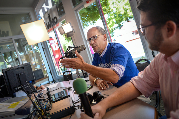 UNITED STATES - AUGUST 9: Chairman of the Democratic National Committee Tom Perez speaks during an interview with the WHO radio station at the Iowa State Fair on Friday August 9, 2019. (Photo by Caroline Brehman/CQ Roll Call)