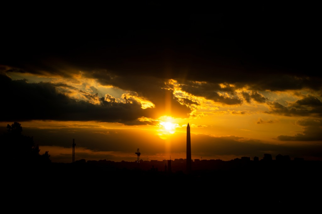 UNITED STATES - SEPTEMBER 17: The sun sets over the National Mall in Washington on Tuesday September 17, 2019. (Photo by Caroline Brehman/CQ Roll Call)