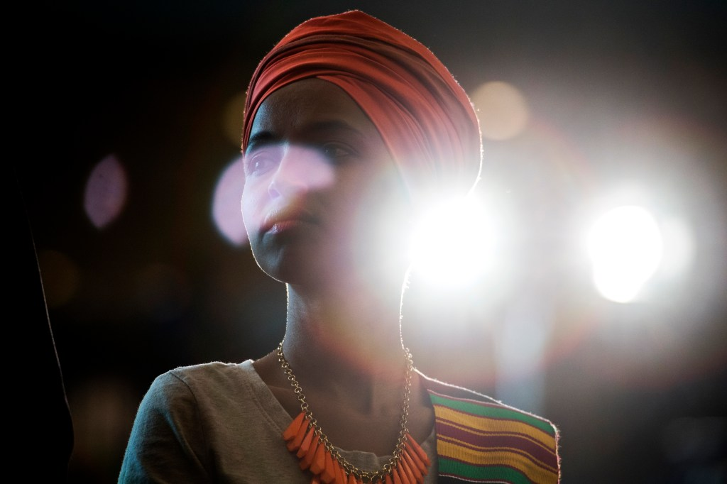 UNITED STATES - SEPTEMBER 10: Rep. Ilhan Omar, D-Minn., attends a ceremony in the Capitolís Emancipation Hall to mark the ìthe 400th anniversary of the first-recorded forced arrival of enslaved African people,î on Tuesday, September 10, 2019. (Photo By Tom Williams/CQ Roll Call)