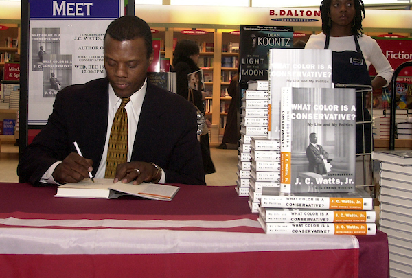 watts3/121802 - Rep. J.C. Watts, R-Ok., at a book store in Union Station siging his new book,