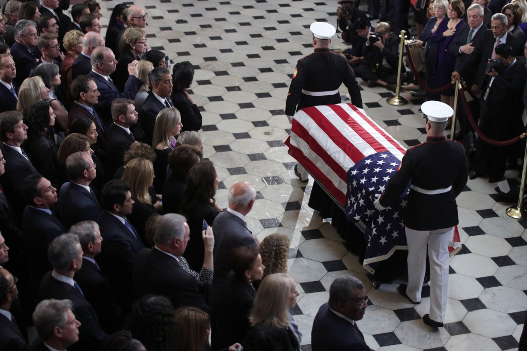 *** POOL ***WASHINGTON, DC - OCTOBER 24: The flag-draped casket of U.S. Rep. Elijah Cummings (D-MD) is escorted by a honor guard during a memorial service at the Statuary Hall of the U.S. Capitol October 24, 2019 in Washington, DC. Rep. Cummings passed away on October 17, 2019 at the age of 68 from
