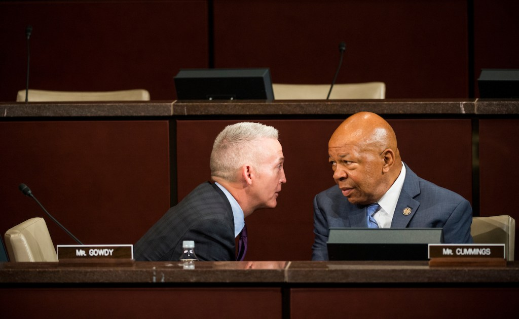 UNITED STATES - SEPTEMBER 17: Chairman Trey Gowdy, R-S.C., speaks with ranking member Elijah Cummings, D-Md., before the start of the House Select Committee on the Events Surrounding the 2012 Terrorist Attack in Benghazi hearing on