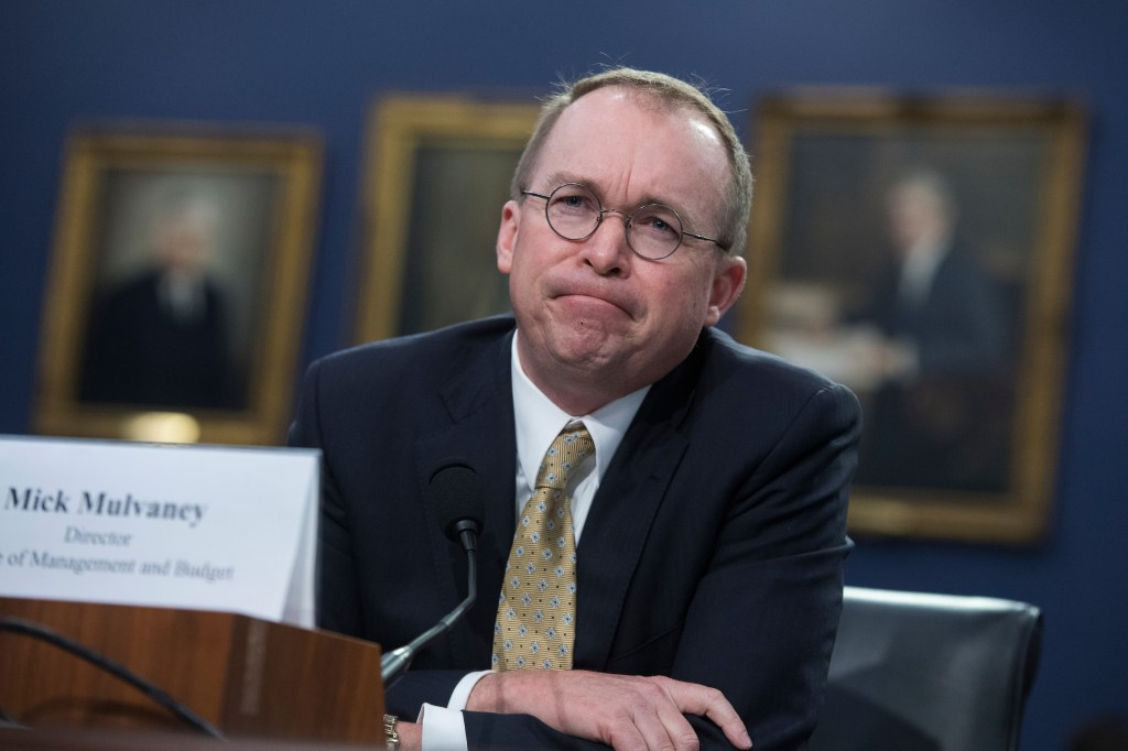 Office of Management and Budget Director Mick Mulvaney testifies before a House Appropriations Financial Services and General Government Subcommittee hearing on April 18, 2018. (Tom Williams/CQ Roll Call file photo)