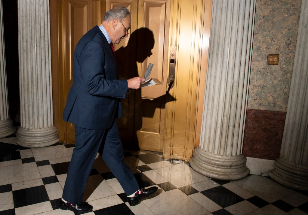 UNITED STATES - NOVEMBER 5: Senate Minority Leader Chuck Schumer, D-N.Y., walks through the Capitol on Tuesday Nov. 5, 2019. (Photo by Caroline Brehman/CQ Roll Call)