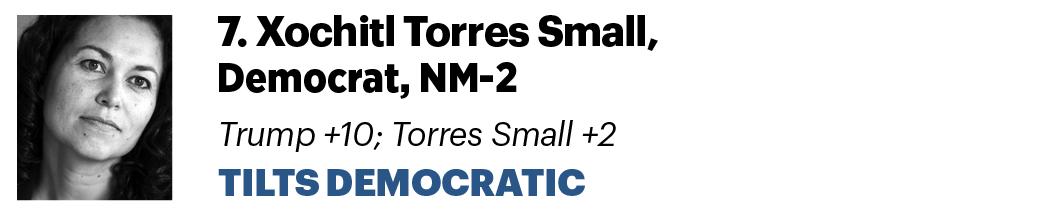 7. Xochitl Torres Small, D-N.M. Trump +10 ; Torres Small +2 Tilts Democratic