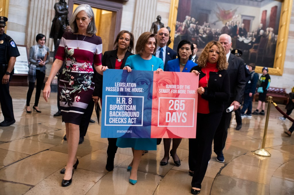 UNITED STATES - NOVEMBER 20: From left, Reps. Katherine Clark, D-Mass., Robin Kelly, D-Ill., Speaker Nancy Pelosi, D-Calif., Ted Deutch, D-Fla., Judy Chu, D-Calif., Lucy McBath, D-Ga., and Mike Thompson, D-Calif., wall through the Capitol rotunda before delivering a sign to the office of Senate Majority Leader Mitch McConnell, R-Ky., to call on the Senate to act on bipartisan House passed background checks legislation on Wednesday, November 20, 2019. (Photo by Tom Williams/CQ Roll Call)