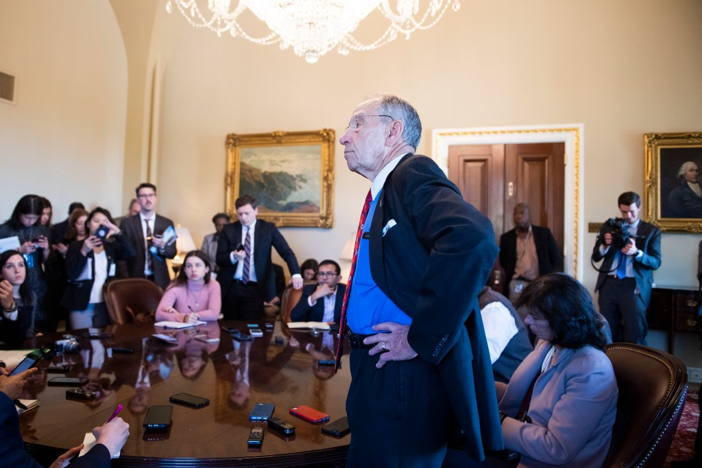 UNITED STATES - NOVEMBER 06: Senate Finance Committee Chairman Charles Grassley, R-Iowa, conducts a briefing in the Capitol on Wednesday, November 6, 2019. (Photo By Tom Williams/CQ Roll Call)