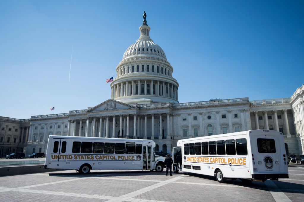 UNITED STATES - FEBRUARY 28: U.S. Capitol Police buses parked on the East Plaza of the Capitol on Thursday, Feb. 28, 2019. (Photo By Bill Clark/CQ Roll Call)