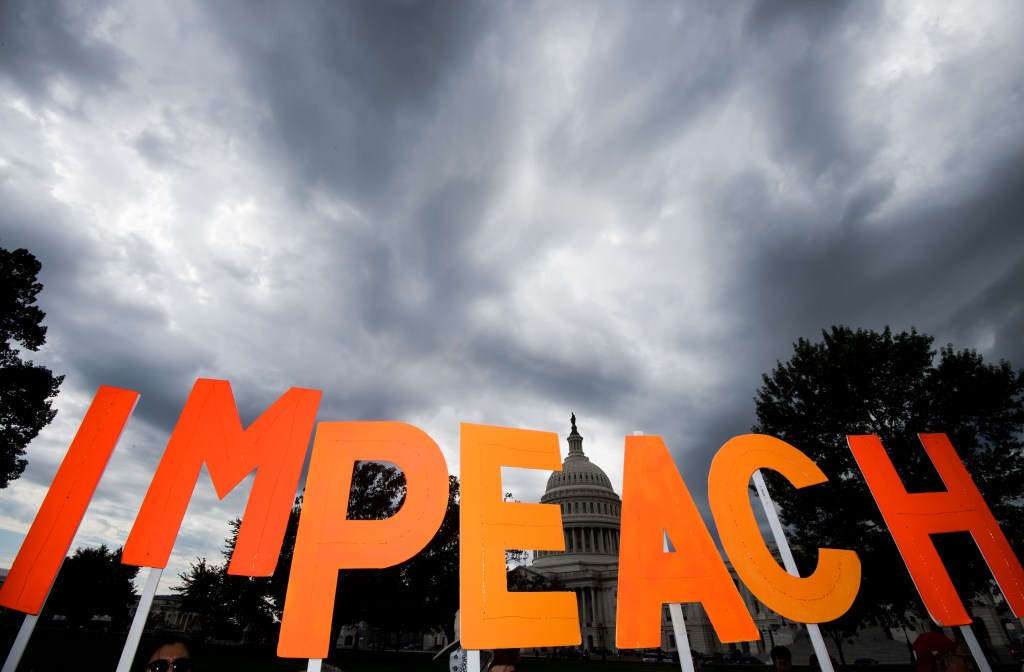 UNITED STATES - SEPTEMBER 26: A coalition of progressive activist groups, including MoveOn.org, hold a rally at the Capitol calling on Congress to impeach President Trump on Thursday, Sept. 26, 2019. (Photo By Bill Clark/CQ Roll Call)