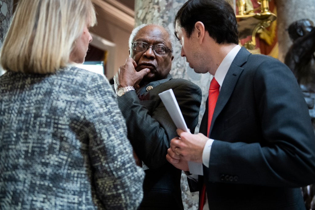 UNITED STATES - DECEMBER 18: House Majority Whip James Clyburn, D-S.C., is seen in the Capitol's Statuary Hall during procedural votes related to the articles of impeachment against President Trump on Wednesday, December 18, 2019. (Photo By Tom Williams/CQ Roll Call)